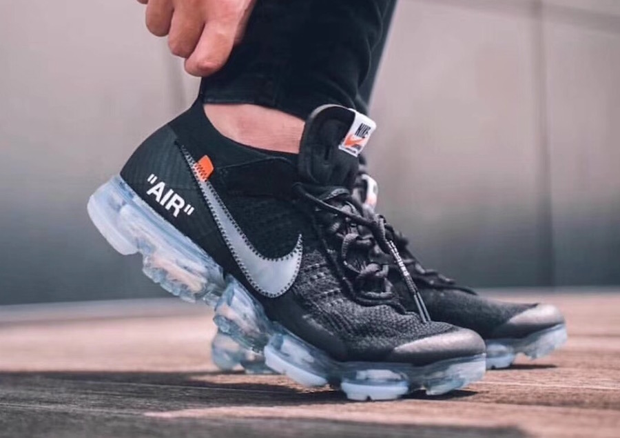 Off-White x Nike Air VaporMax. Color: Black/Total Crimson-Clear Style Code:  AA3831-002. Release Date: 2018. Price: $250