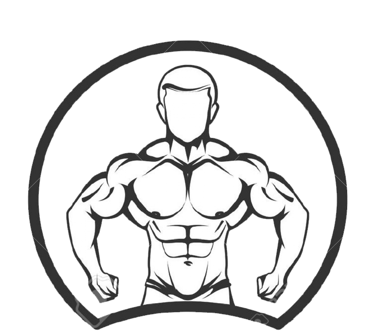 Cropped Vector Illustration Of Muscled Man Body