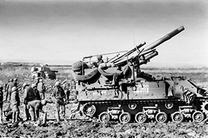 Israeli artillery position on the Golan during the 1973 Yom Kippur War