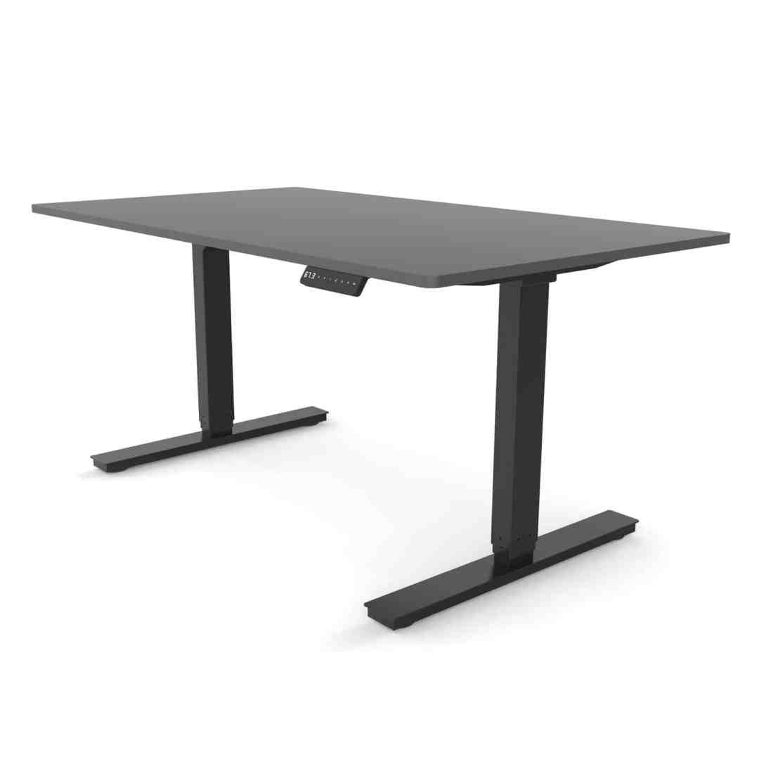 Standing desk dual motor rectangular leg with anthracite colour desktop and black colour frame