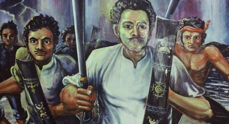 Schilderij van Thomas Matulesia (Pattimura) en medestrijders in het Museum Siwalima, Ambon (Indonesië). Foto uit collectie Moluks Historisch Museum, Den Haag.