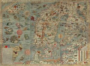 The Baltic in 1539.  Olaus Magnus draws his world