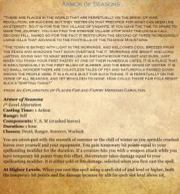 1st - Armor of Seasons
