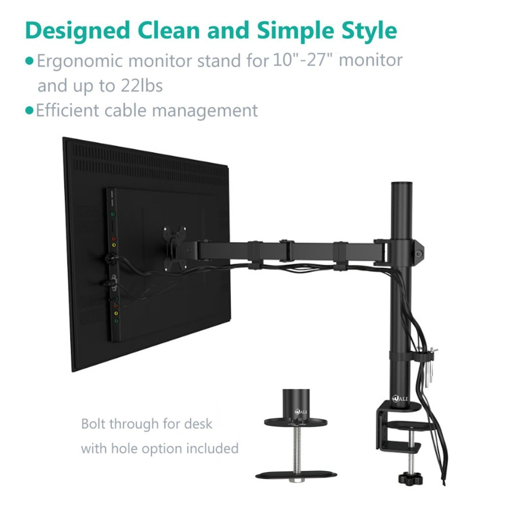 Wali Single Lcd Monitor Desk Mount Stand Fully Adjustable