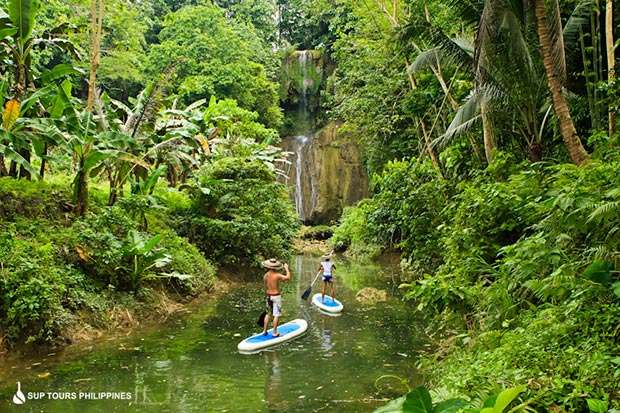 Frederic Soupart: Start point of one of our stand up paddle tours on bohol. Kawasan falls is an amazing place to start of and follow the river thru the jungles of the philippines.