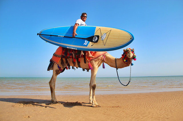 """Peter Harrison & Lucky da Camel: Aussie Peter Harrison and his trusty stead """"Lucky"""" cruising the beaches of the Red Sea, Egypt in search of waves."""