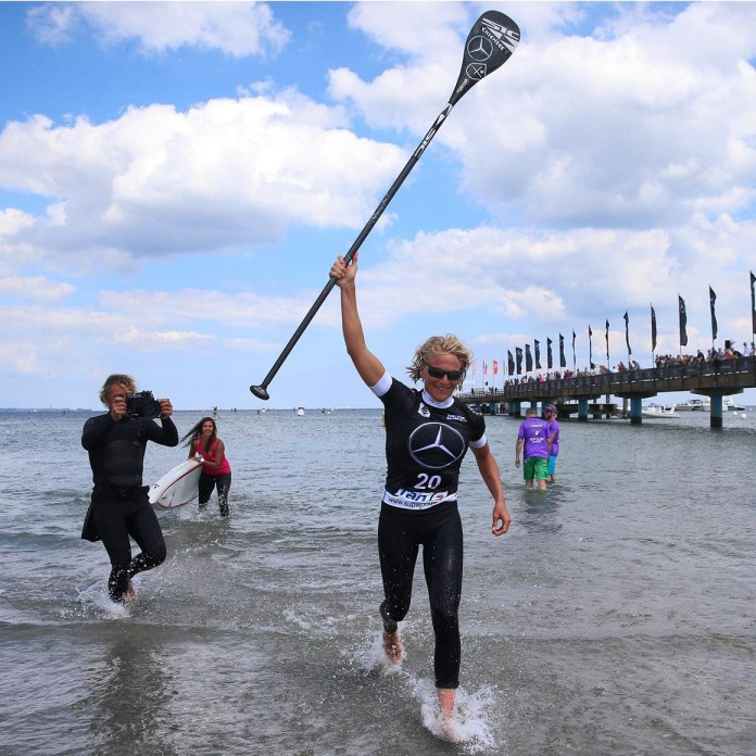 Sonni Honscheid takes victory in the long distance race and as a result the overall event win here at the Mercedes SUP World Cup