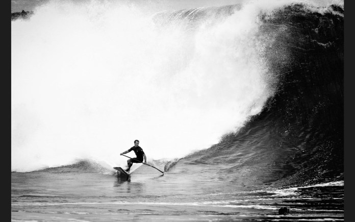 Brennan Rose stand up paddle surfing the wedge LEFT