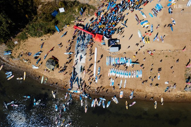 Russian 2017 SUP World Record attempt aerial