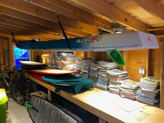 Indoor board storage hanging from ceiling