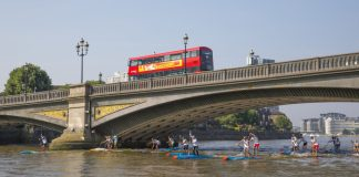 London SUP Open bridge with red bus