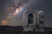 Frans Snik's model of the VLT is set against a background photograph from the actual telescope site in Chile's Atacama Desert, with the Milky Way rising majestically into the sky above.