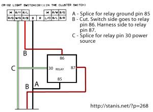 RX7 Headlight Switch Harness Relay Mod | stanis