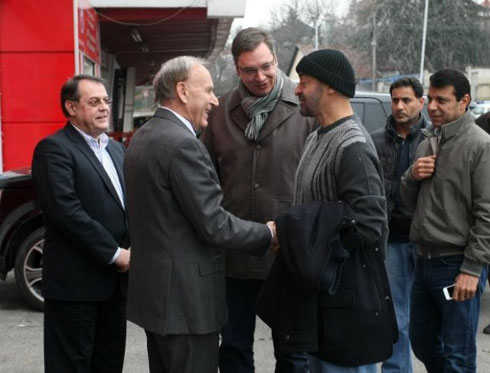 Mohammed bin Zayed visits Red Star Football Club with Vucic and Dahlan (Tanjug News Agency)