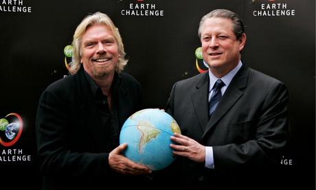 Године 2006, након сусрета са Алом Гором, Ричард Бренсон се зарекао да ће кроз период од наредних 10 година донирати 3 милијарде долара за борбу са климатским променама. Од тада је потрошио тек 230 милиона.Фото: Бруно Винсент/Гети