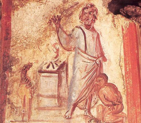 Старохришћанска фреска Жртве Аврамове из римске катакомбе у Виа Латина