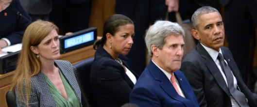 С лева на десно: амбасадор при УН Саманта Пауер, саветник за националну безбедност Сузан Рајс, државни секретар Џон Кери и председник САД Барак Обама (25. септембар, Њујорк, фото АФП)