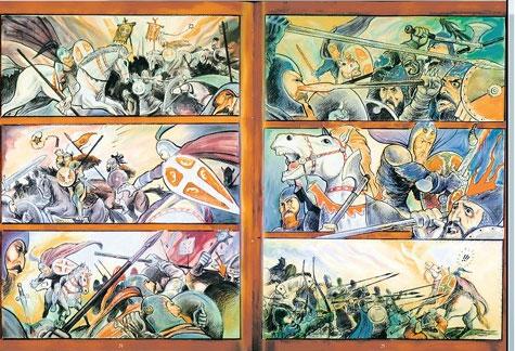 """Детаљ из """"Уздизања"""", првог дела стрипа """"Житије Светог Симеона Мироточивог"""""""