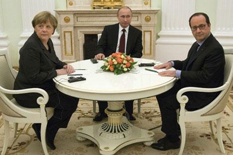 Ангела Меркел, Владимир Путин и Франсоа Оланд (Фото АП)