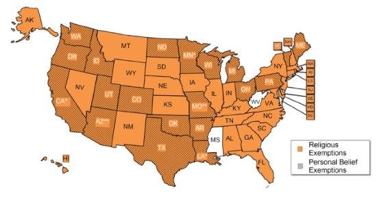 Захвалност Националној конференцији државних законодавстава (National Conference of State Legislatures) Окер: Верски изузеци од вакцинације Сиво: Изузеци због личног убеђења Кликните на слику за увећање