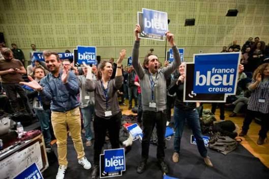Париз, 02.04.2015 - штрајк новинара и техничког особља државне радио корпорације Радион Франс против умањења буџета и смањења броја радних места