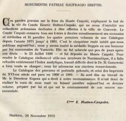 Предисловие к пятому тому каталога польских медалей и монет из собрания Эмерика Гуттен-Чапского
