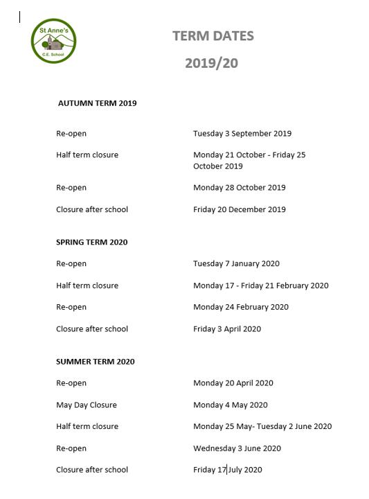 Term dates 1920