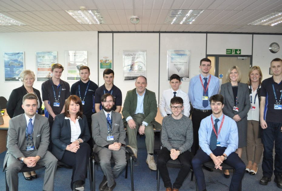 Robert Halfon MP meets apprentices, trainees and former jobseekers who have benefited from the airport's award winning training and education programmes at Stansted