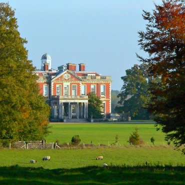 Stansted House with sheep in foreground