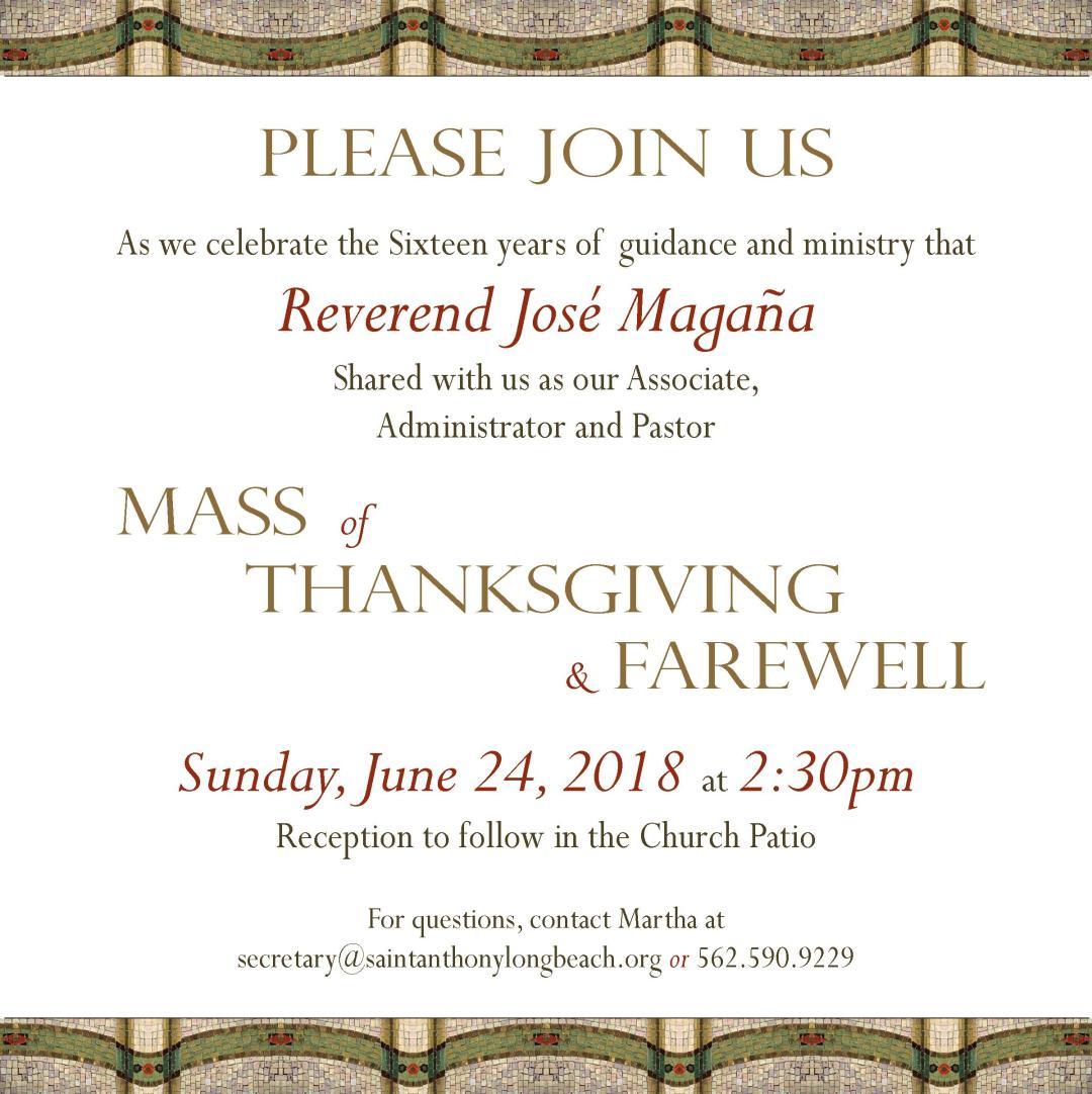 Pastor Farewell Mass 2018 English