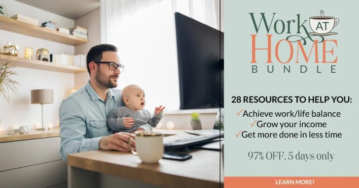 The image shows a man holding a baby in front of a computer screen. Next to the image is some text advertising a bundle of courses to help you to work from home productively.
