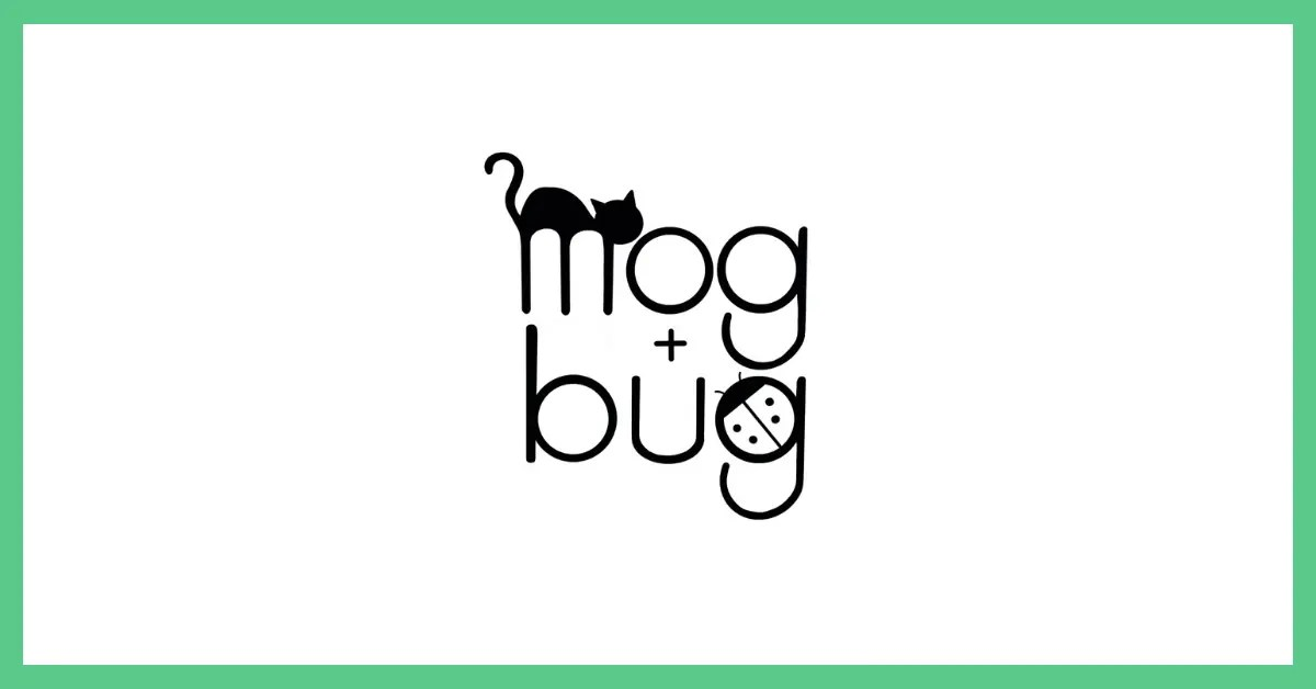 The image shows the mog + bug children's wear logo which is black on a white background. The image has a green border.