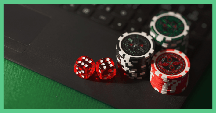 The image shows some poker chips and dice on a laptop. The article is about no risk matched betting and casino offers.