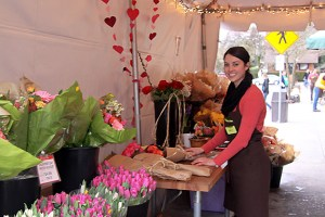 Becca Olson Kling enjoys preparing Valentine's Day bouquets to sell outside New Season's Concordia.