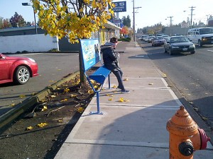 New TriMet 'Leaners' are being installed along César Chávez Boulevard in Northeast and Southeast Portland. (TriMet)