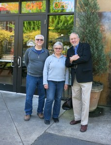 Core group (left to right) Lew Bowers, Susan Fries, and Jim Swenson of PDX Commons meet at Grand Central Bakery in Eliot to discuss plans for building a senior co-housing structure.