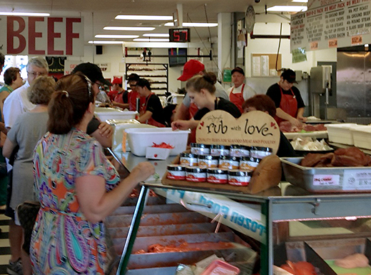 A large, helpful staff keeps things moving at Gartner's Country Meat Market. (James Bash)