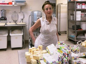 Vasiliki Vlahakis, past chair of the Portland Greek Festival, tracks the number of pastries and cookies prepared by volunteers in the kitchen annex. They recently made 7,776 kouraviedes (butter cookies rolled in powdered sugar).