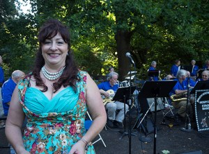 Maria Blum sings with the Providence Stage Band at an outdoor concert at Laurelhurst Park. Blum, who's been performing with the band for 10 years, is the youngest daughter of 95-year-old Laurelhurst resident Mary Jane Groce.