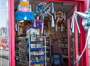 A variety of colorful products are displayed at El Talisman, a Mexican store on North Lombard Street, next to King Burrito in Arbor Lodge.