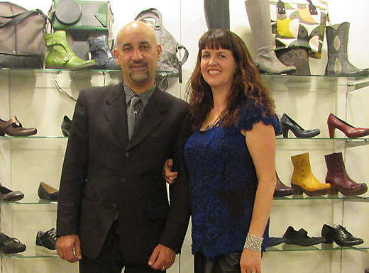 Zaki Hadfid, left, and Liz Page of Amenity Shoes are celebrating ten years selling shoes, jewelry, scarves, hats, handbags and socks at their shop in Beaumont Village. (Jane Perkins)