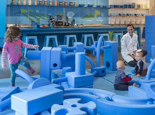 Valerie LaRosa, center, a naturopathic doctor with a focus on pediatrics, will work with parents and children in the Great Blue Room at the Zoom  Kids Discovery Center in Beaumont Village.