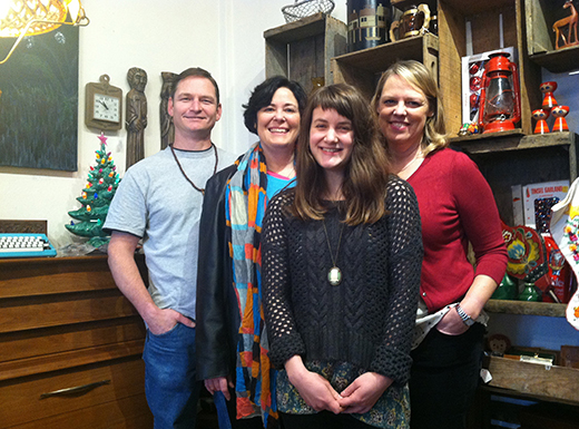 The team at 4PDX, Aaron Dye, left, Stacey Dycus, Chelsea Swofford and Carla Axtman have opened a new shop offering local art, vintage furnishings, house wares and decor in the former home of Pam Park's Lemontree in the Hollywood District. (Jane Perkins)