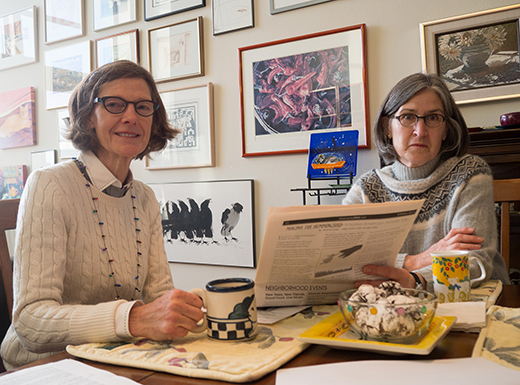 Alameda Tuesday Club president Anne E. Brown, left, and former program chair Ellen Lodine discuss plans for 2016. Founded in 1913, the social group has a strong philanthropic history benefitting Northeast Portland charities.