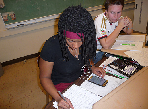 Natoryia Arnold, 17, a Madison High School junior, enjoys a history of sports class because it relies less on lectures and textbooks and more on research and writing. The class examines how sports have shaped American culture. (Janet Goetze)