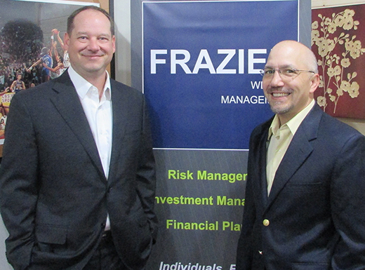 Andy Frazier and Greg Kimura opened the offices of Frazier Wealth Management in the Fremont Commons Building in Beaumont Village in May. (Ted Perkins)