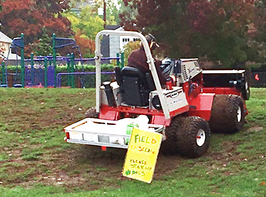 Portland Public Schools began reseeding the playing field behind Alameda Elementary School in October. The work to aerate, level and reseed the field was spurred by a parent effort to raise funds for field renovation this past summer. (Phill Colombo)
