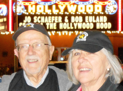 Hollywood Neighborhood Association secretary Bob Ueland and president Jo Schaefer are honored with a display on the Hollywood Theatre marquee. Ueland had served on the association's board for 40 years and Schaefer had been president for ten years. (Phill Colombo)