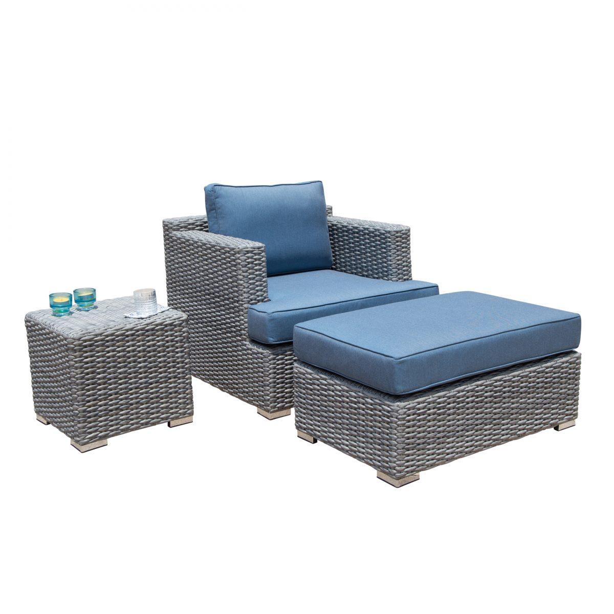 borealis niko 3 piece ash grey and denim club chair set