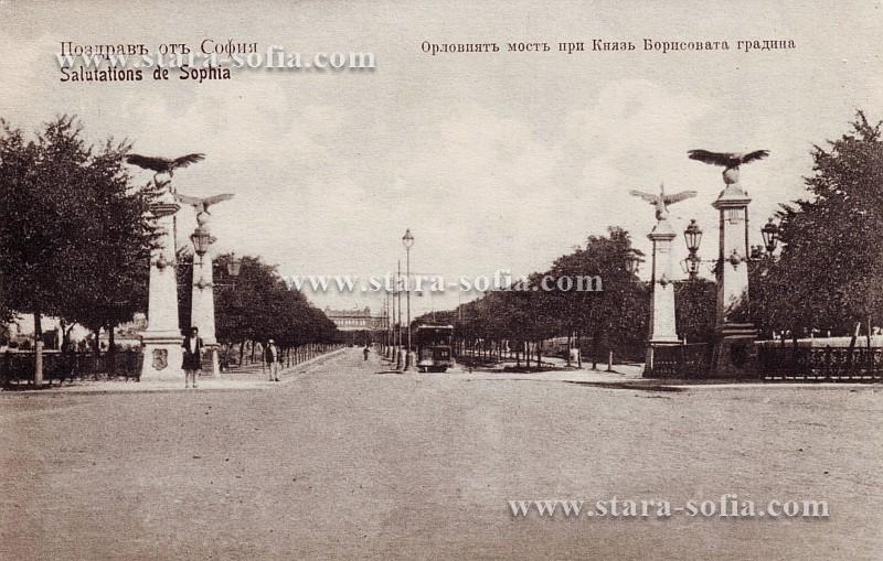 Булевард Цар Освободител - Поглед от Орлов мост към Народното събрание; Стара София в снимки